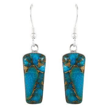 Turquoise Earrings 925 Sterling Silver Genuine Turquoise Jewelry (SELECT from different styles)