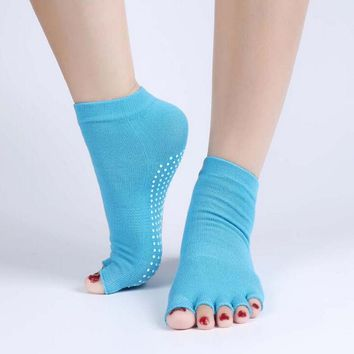 37YIMU 1Pair Half Toe Socks Non-Slip Peep Toe Anti-Slip Pilates Ankle Grip Durable Open Half Five Fingers Cotton Socks