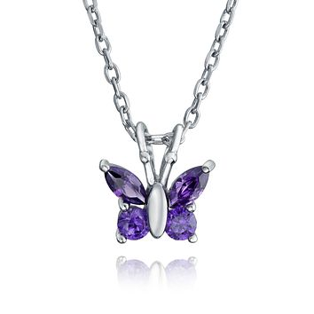 Tiny Purple Butterfly Simulated Amethyst Rose Gold Plated CZ Pendant