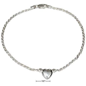 "Sterling Silver Bracelet:  9"" Italian 2mm Rope Chain With Heart Anklet"