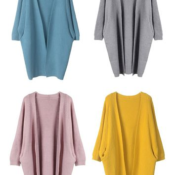 Long Knit Cardigan Batwing Sleeve Sweater Coat