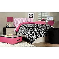 Essential Home  9-Piece Twin XL Dorm Room Bedding Set - Damask/Striped