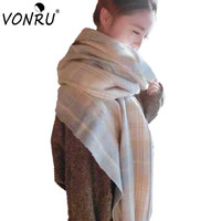 Winter Luxury Brand Plaid Cashmere Scarf Women's Oversize Scarves Blanket Bandana Long Tassel Pashmina Ladies Shawls and Scarves