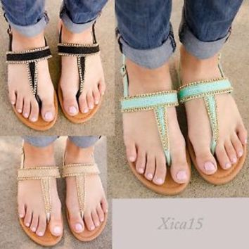 Women's Sandals Flat Beaded Thong T Strap Slingback Gladiator Sandal Shoes New