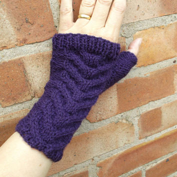 Purple wrist warmers with thumbs - gull wing cable pattern - one size - women/teens/autumn/winter/Christmas/gift