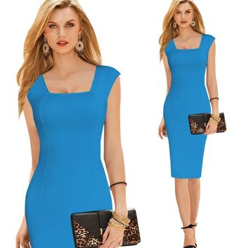 New Fashion Women Clothing Maxi Hip Dress Elegant Square Neck Office Lady Work Business Casual Party Pencil Sheath Vestidos