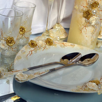 Wedding cake/plate for wedding cake/Personalized set for wedding cake/spoon cake/handmade /wedding plate/gold and ivory/Service à gâteau