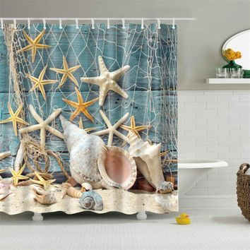 New Bath Curtains Sea Star Printing 100% Polyester Fabric Waterproof Mildewproof Shower Curtain Bathroom Product With 12 Hook