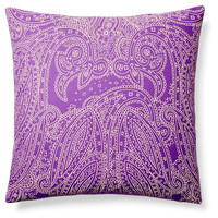 Suraj 20x20 Cotton Pillow, Purple, Decorative Pillows
