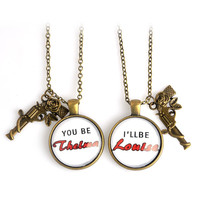 2pcs Stamped Metal Rose Gun Pendant Thelma & Louise Necklace Best Friend Best Bitches Partner In Crime Jewelry