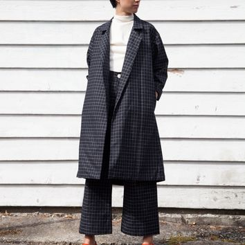One of a Few — Jesse Kamm Trench Coat - black windowpane