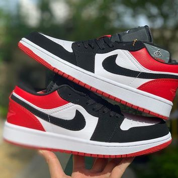 "NIKE  Air Jordan 1 Low ""Black Toe"" Men Basketball Sneaker Shoes 553558_116"