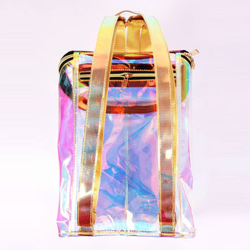 2016Women candy Bags Transparent reflection Backpack High Quality Laser Hologram Backpack Girls Shoulder Bag bolsos pvc Harajuku