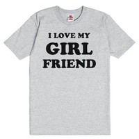 I Love My Girlfriend-Unisex Dark Ash T-Shirt