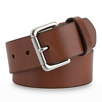 Polo Ralph Lauren Embossed Logo Patch Leather Belt - Tan