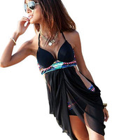 Boho Sexy Tankinis Set Women Swimwear Flower Print Halter Neck Push up tankini Bathing Suit Shorts Plus Size Swimsuit Black