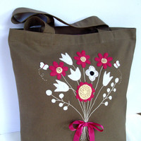 Canvas chocolate brown canvas tote handbag/Unique floral hand embroidered and appliqued /classic/everyday use/shopper/stylish