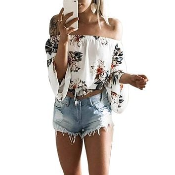 Women Chiffon Blouses Casual off Shoulder Tops Long Sleeve Floral Printed Shirt Elegant Party Female Office Tops 2017 New