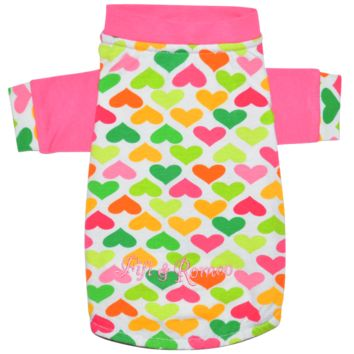 Fifi & Romeo Limited Edition Cotton Hearts T-Shirt - Pink & Multi-Color