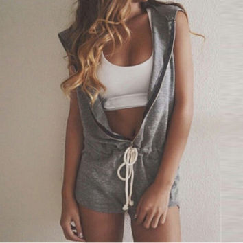 Plus Size S-4XL 2017 Summer Femininas Rompers Womens Jumpsuit Hooded Sleeveless V-Neck Ladies Casual Playsuit Overalls