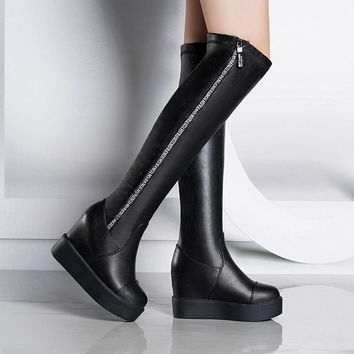 2019 Sexy Slim Women's Wedges Over the Knee Boots Brand High Heels Platform Boots Slip on Winter Boots Shoes Woman Boot