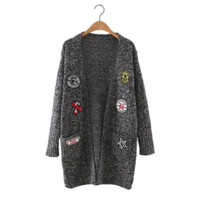 Longline Patchwork Sweater Cardigan