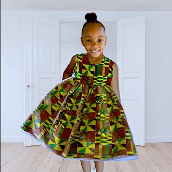Lucy African Print Girl's Dress