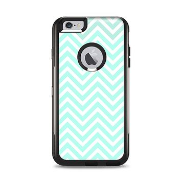 The Light Teal & White Sharp Chevron Apple iPhone 6 Plus Otterbox Commuter Case Skin Set