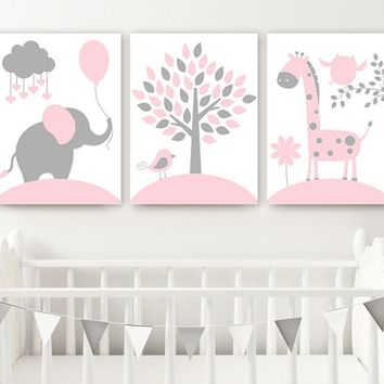 PINK GRAY Nursery Decor, CANVAS or Print, Baby Girl Jungle Safari Nursery Wall Art, Girl Elephant Giraffe Tree Pictures, Set of 3 Artwork