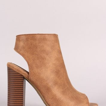 Bamboo Open Toe Chunky Heeled Mule Booties