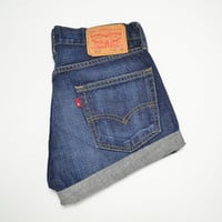 "LEVIS High Waisted Shorts Dark Wash Denim Cuffed Rolled Cutoff Hem Boyfriend Jeans Festival Concert Wear Size 30"" Waist"