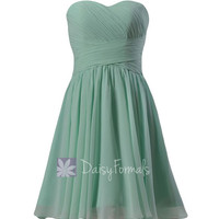 Mint Sweatheart Knee Length Bridesmaid Dress Short Mint Green Formal Party Dress(BM182)