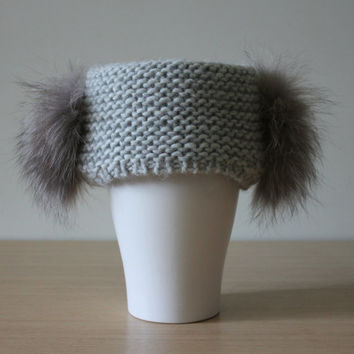 Wool headband with fur, Fur earmuffs, Wide knit headband, Gray chunky knit headband, Recycled fox fur