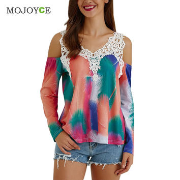 Off Shoulder Women Blouses Tie Dye Cut Out Lace Splicing Long Sleeve Shirt Women Print Blusa Women Tops blusas femininas SN9