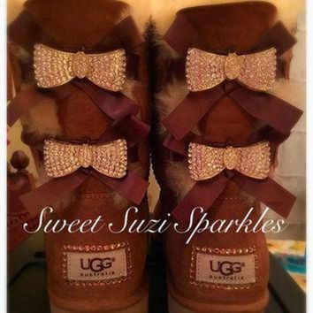 ICIK8X2 Custom Bling Ugg boots, Chestnut Bailey Bow....(other colors available!)