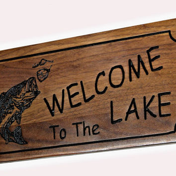 Lake Welcome Wood Sign - Carved Welcome Sign - Engraved Wood Sign - Cabin Decor - Bass Welcome Sign