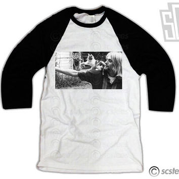 Kurt Cobain Kitty Cat Baseball Tee Shirt 071