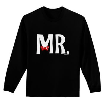 Matching Mr and Mrs Design - Mr Bow Tie Adult Long Sleeve Dark T-Shirt by TooLoud