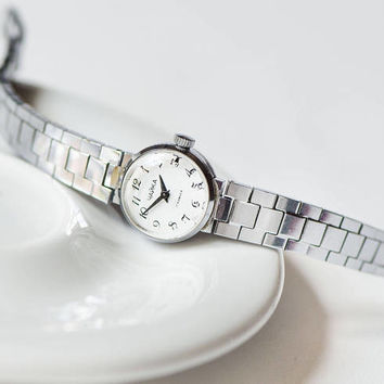Tiny watch bracelet vintage for women. Round case classic lady watch. Silver shade watch Seagull. Cocktail watch little jewelry women gift