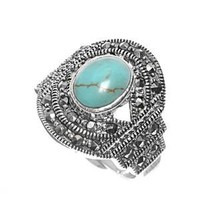 High Fashion Sterling Silver Evil Eye Design Marcasite Ring with Turquoise Stone