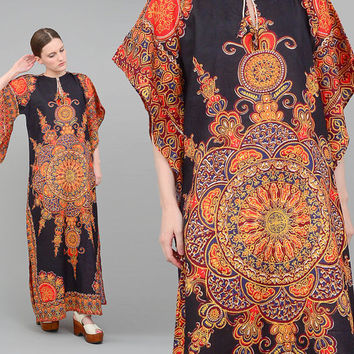 70s Caftan Ethnic Print Angel Sleeve India Dashiki Cotton Dress Boho Hippie 1970s Maxi Dress Black Red Small Medium S M
