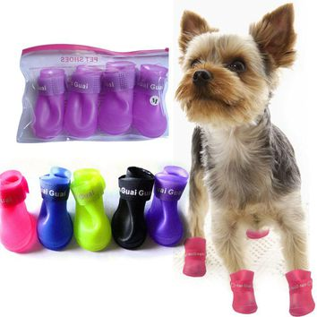Cute Pet Small Dog Puppy Rain Waterproof Skidproof Pet Dog Rain Protective Rubber Shoes Booties