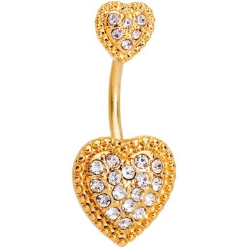 Clear CZ Gem Gold Tone Art Deco Heart Double Mount Belly Ring
