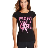 Ideology Top, Short-Sleeve Pink-Ribbon Printed Tee - The Pink Shop - Women - Macy's