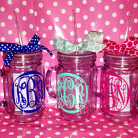 Wedding Party Theme Monogrammed Mason Jar Tumblers