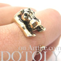 Hippo hippopotamus Animal Wrap Ring in Shiny Gold - Sizes 4 to 9 Available