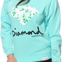 Diamond Supply Co. Floral Diamond Blue Crew Neck Sweatshirt