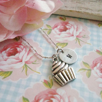 Cute Cupcake With Hand Stamped Initial Necklace