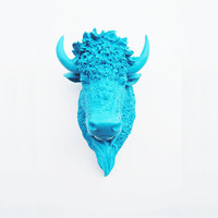 Faux Bison - The Dacono - Blue Raspberry Resin Bison Head- Buffalo Resin Blue Raspberry Faux Taxidermy- Chic & Trendy