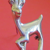 Art Deco Gazelle Pin, Ibex Antelope Deer Brooch Pin, Stamped Mexico Silver, Tiny, 1930s